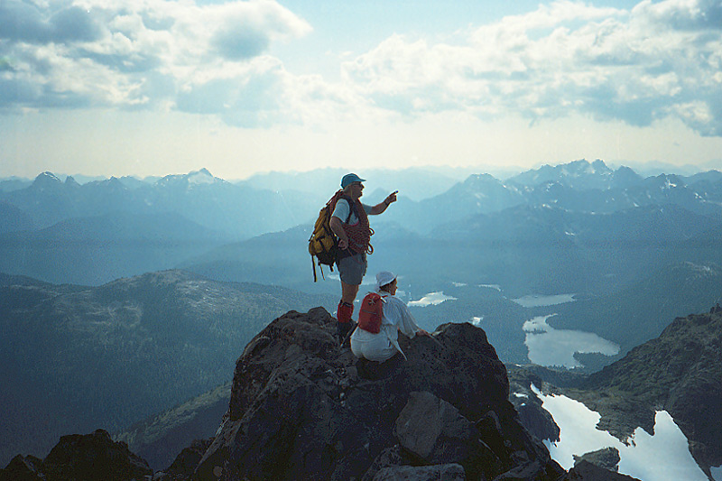 Hikers at the summit of the Golden Hinde, Strathcona Provincial Park, Vancouver Island, British Columbia
