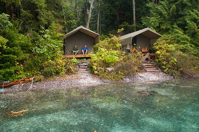 Luxury Safari-style tents: Orca Dreams offers kayaking, whale watching and luxury camping on Compton Island, Blackney Pass, British Columbia
