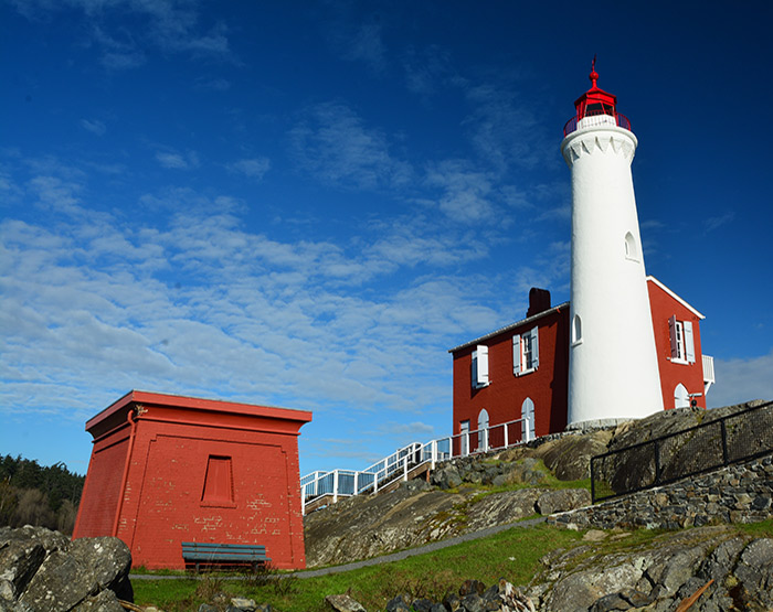 Fisgard Lighthouse at Fort Rodd Hill National Historic Site, Victoria, Vancouver Island, British Columbia, Canada